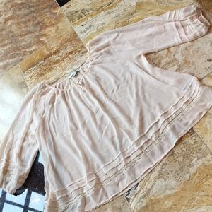 Forever 21 sheer cream chiffon pleat/lace hem/slee